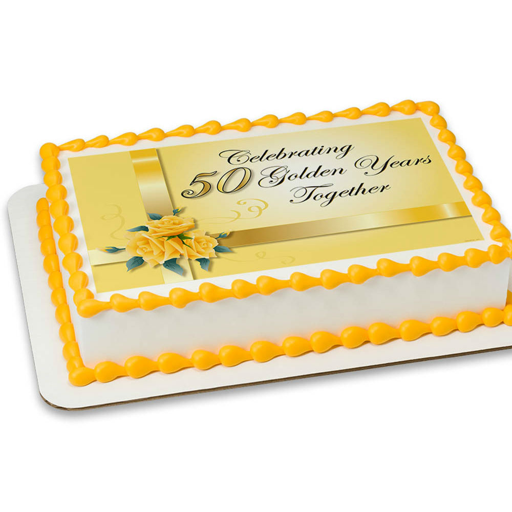 50th Anniversary Cupcake Decorations Happy 50th Anniversary Personalizable Edible Icing Party Supplies