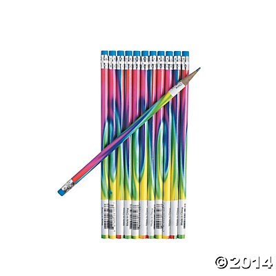 Tie-Dyed Wood Full Size Pencils - 24pk