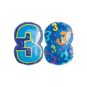 3 Shaped Number Balloon