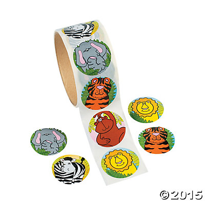 Zoo Animal Roll of Stickers 100pk