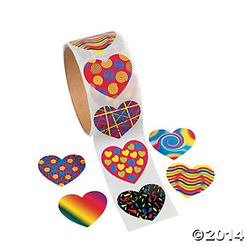 75% Off: Valentine Big Heart Sticker Roll - 100 Pk
