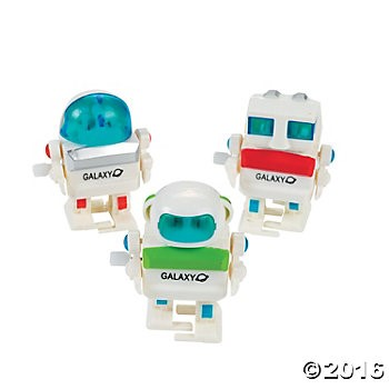 Plastic Wind-Up Robots - 12pk