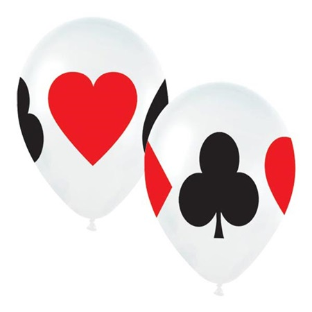 Casino Balloons: Large Card Suit Latex - 50 Pack