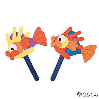 Handprint Fish Puppets Craft Kits - 12 Pk