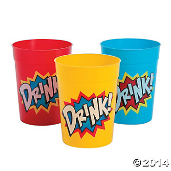 Super Hero- Plastic Tumbler 10 Oz. Cups 12 Pack