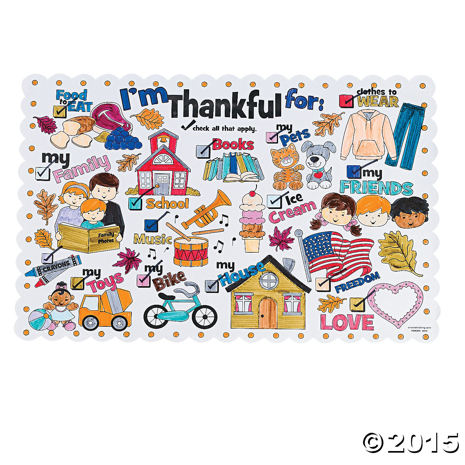 CYO Im Thankful For Thanksgiving Place Mats 12 Pk