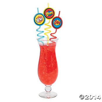 SuperHero Party: Deluxe Squiggle Straws 12 Pack