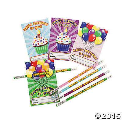 """Happy Birthday"" Cards with Pencils 24pk"