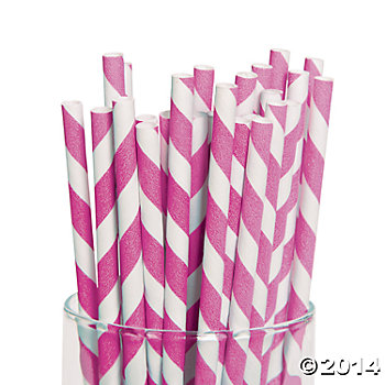 Hot Pink Striped Paper Straws - 24 Pk