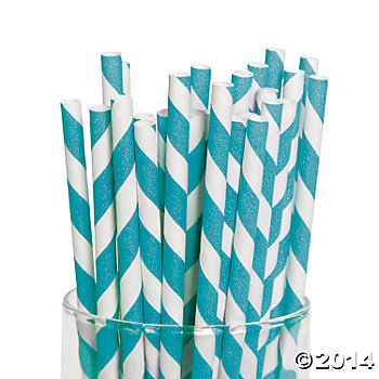 Turquoise Striped Paper Straws - 24 Pk