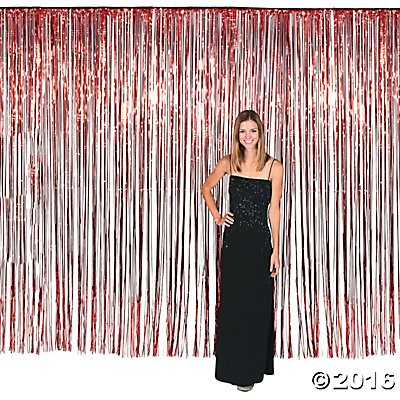Red Fringe Door Curtain - 12ft x 8ft