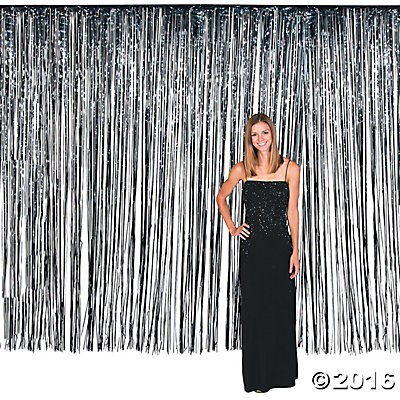 Black Fringe Foil Door Curtain - 12ft x 8ft