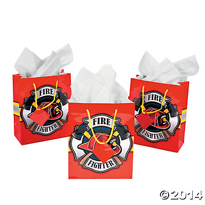 Fire Party Supplies: Medium Firehouse Hero Gift Bags 12pk