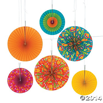 Fiesta Large Hanging Fans - 6 pack