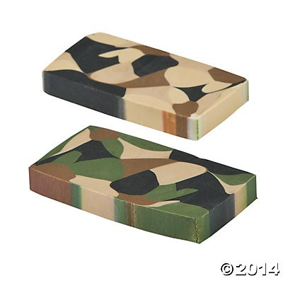 Camouflage Erasers - 24pk