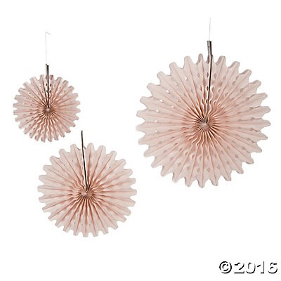 Blush Tissue Hanging Fans - 12pk