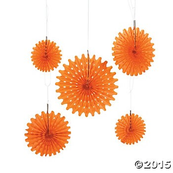 Orange Puree Tissue Hanging Fans - 12pk