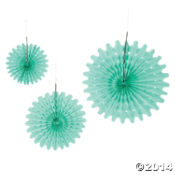Mint Green Tissue Hanging Fans - 12pk