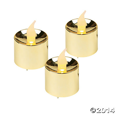 Gold Battery-Operated Votive Candles - 12 Pk