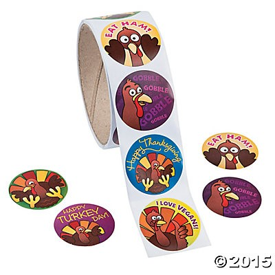 Funny Thanksgiving Stickers - 100 Pk