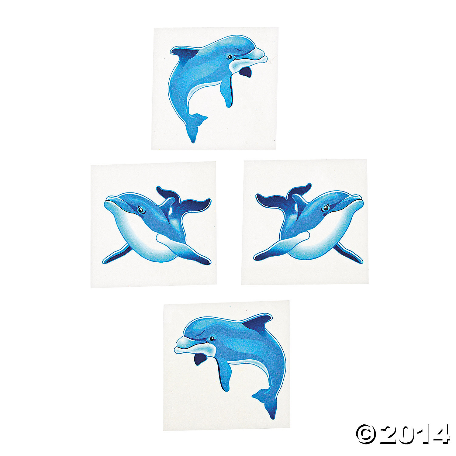 Dolphin Party Tattoos- 72pk