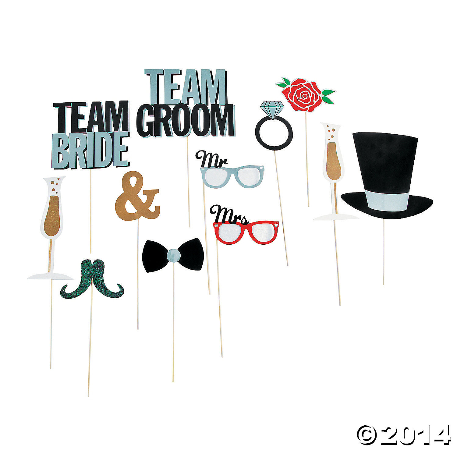 Wedding Party Photo Booth Props 12pk