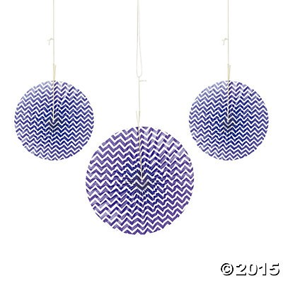 Purple Chevron Hanging Fans - 6 Pk