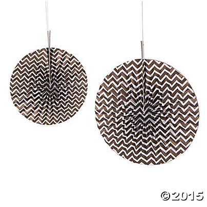 Copper Chevron Hanging Fans - 6 Pk