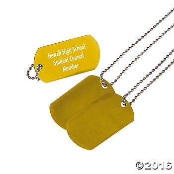 Personalized Yellow Dog Tag Necklaces - 12pk