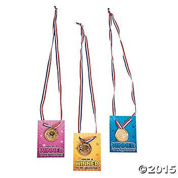 Valentines Winner Necklace Cards w/Medals - 24 Pack