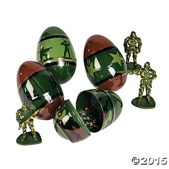 Jumbo Army Toy Filled Easter Eggs - 12 Pk