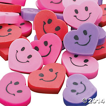 75% OFF:  Heart Erasers - 12 Pack