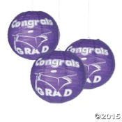 "Graduation - Purple Congrats Grad 12"" Paper Lanterns 6 Pk"