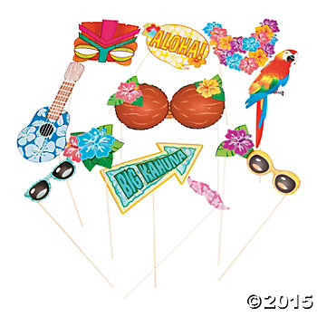 Luau Big Photo Stick Props - 12 Pk