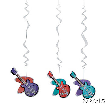 Rockin\' 50s Long Hanging Guitar Swirls - 12 Pk