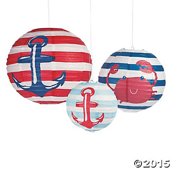 Nautical Hanging Paper Lanterns - 3 Pk