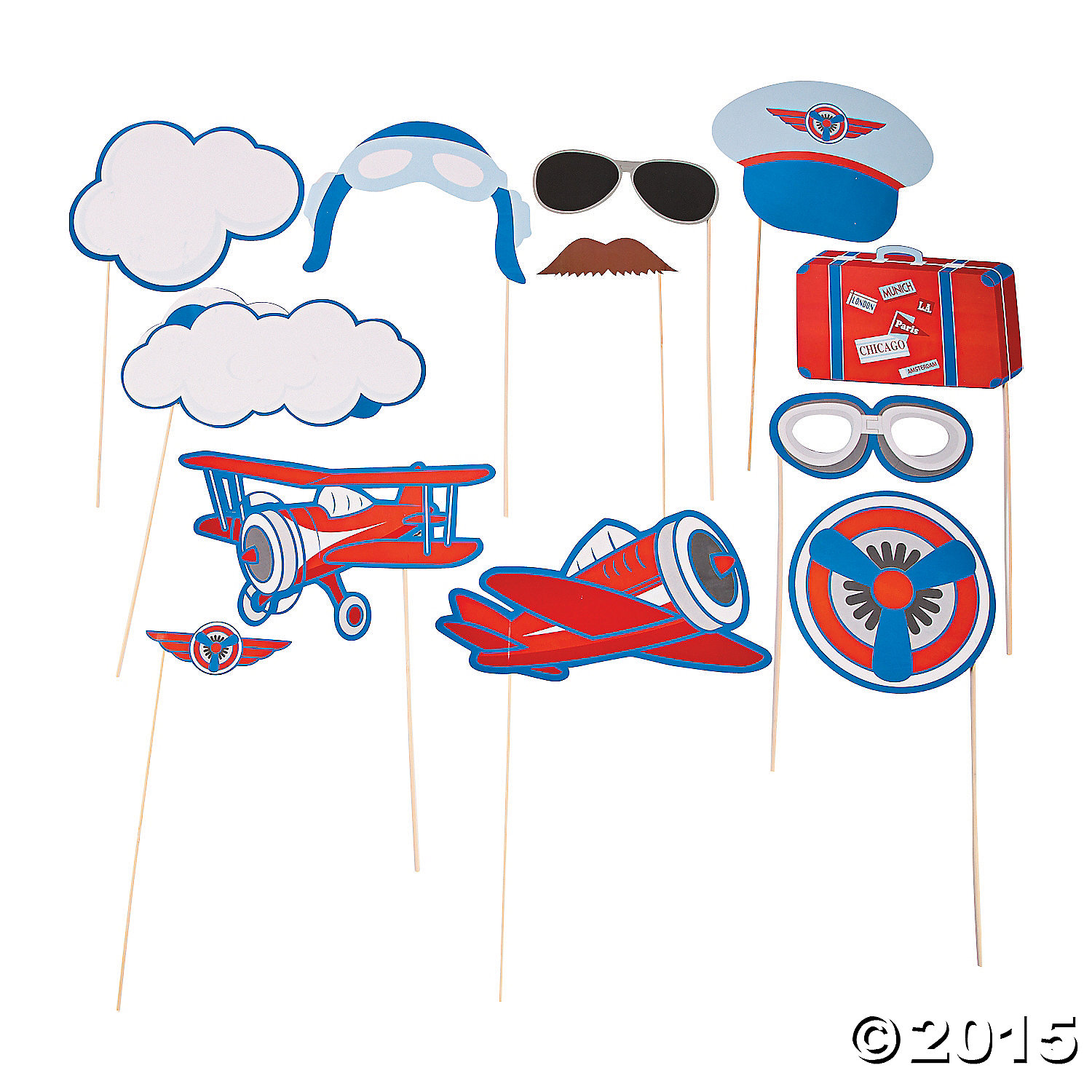 Airplane Big Photo Stick Props - 12 Pk