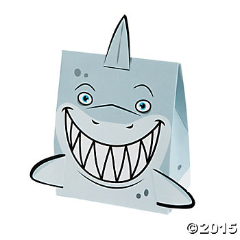 Shark Cardboard Treat Boxes - 12 Pack
