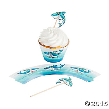 Jawsome Shark Cupcake Covers & Big Picks - 100 Pc Pack