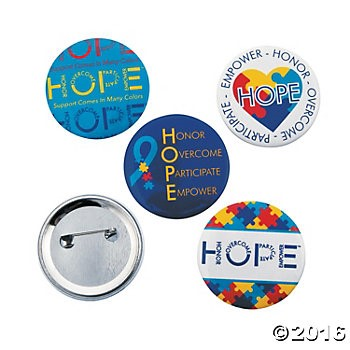 Autism Awareness Hope Buttons - 12pk