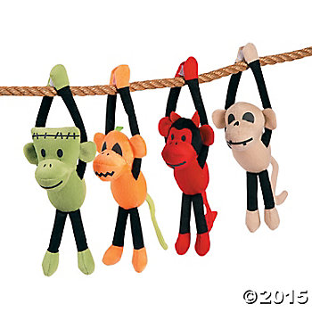Plush Large Halloween Sock Monkeys - 12 pack