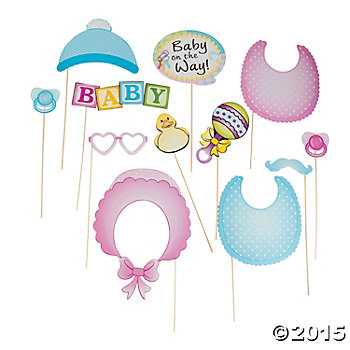 Baby Shower Big Photo Stick Props - 12 Pk
