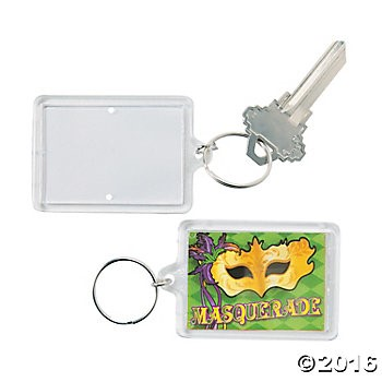 Masquerade Picture Frame Key Chains - 12pk