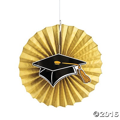 "40% OFF: Graduation Gold Jumbo 14"" Hanging Fans - 12 Pack"