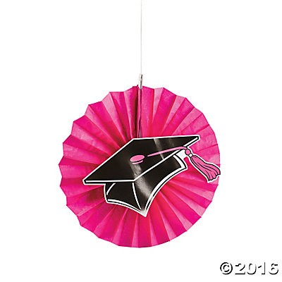 "40% OFF: Graduation Pink Jumbo 14"" Hanging Fans - 12 Pack"