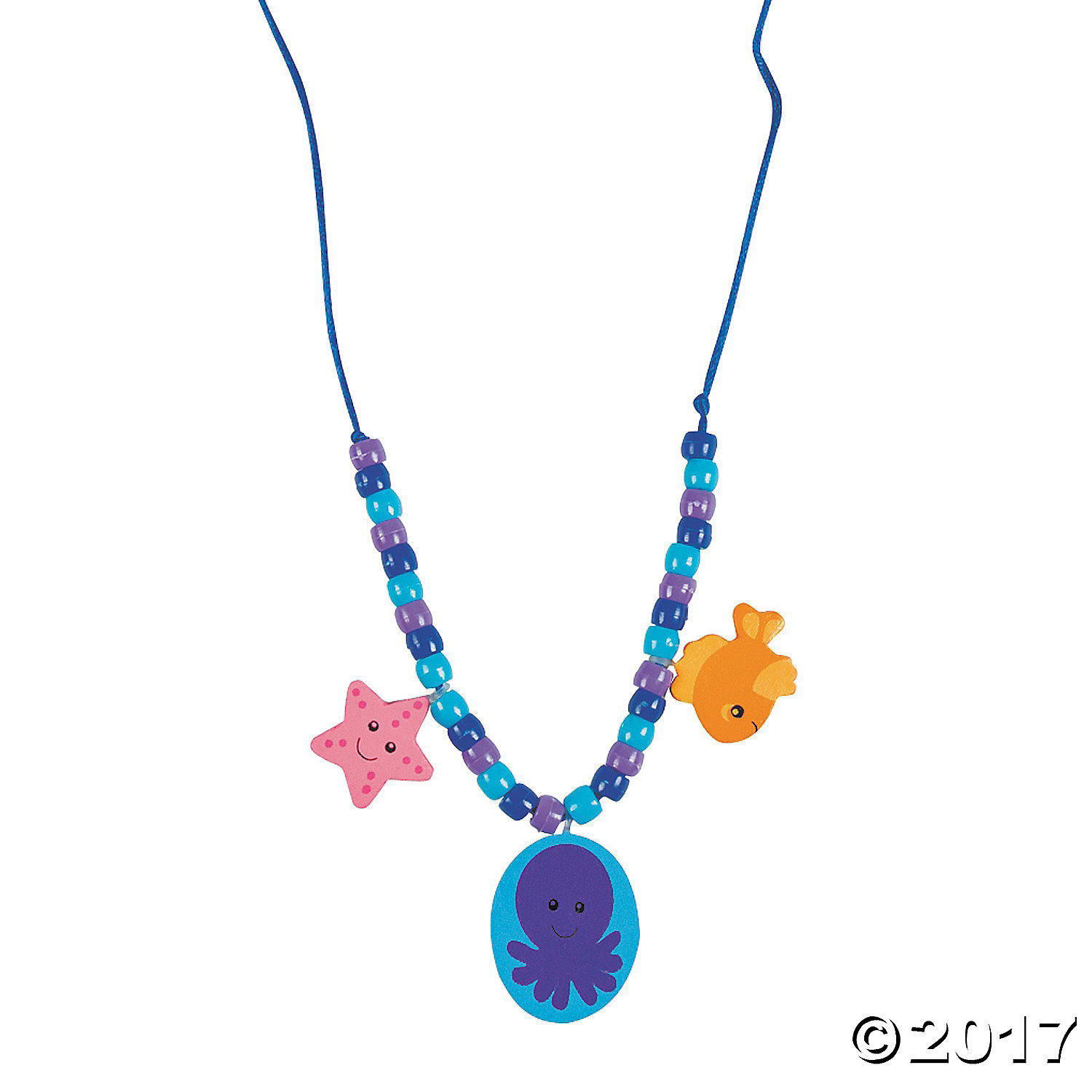 Under The Sea Beaded Necklace Craft Kit-12Pk