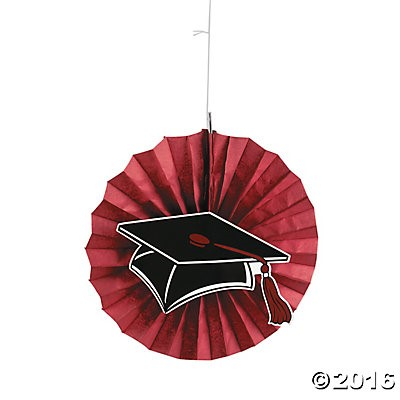 "40% OFF: Graduation Burgundy Jumbo 14"" Hanging Fans - 12 Pack"