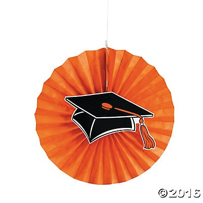 "40% OFF: Graduation Orange Jumbo 14"" Hanging Fans - 12 Pack"