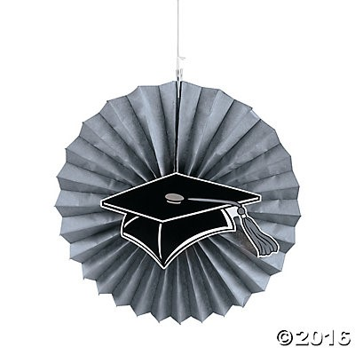 "40% OFF: Graduation Silver Jumbo 14"" Hanging Fans - 12 Pack"