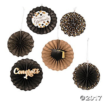 Black & Gold Grad Hanging Fans - 12pk